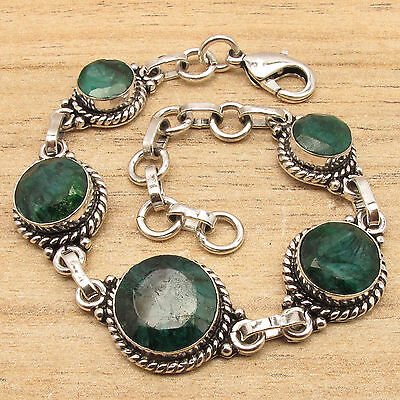 """TRADITIONAL JEWELRY BRACELET 7.9"""" ! Simulated EMARALD Gems ! 925 Silver Plated"""