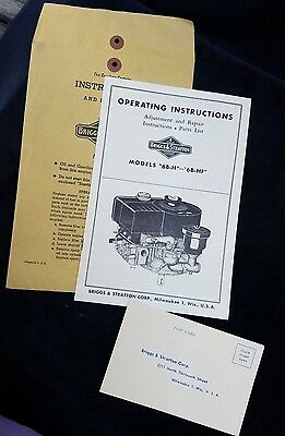 Vintage Operating Instructions Manual Briggs & Stratton Engines Model 6B-H 6B-HF