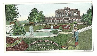 Old Trade Card Philadelphia Lawn Mowers Horticultural Hall Fairmount Park Mowing