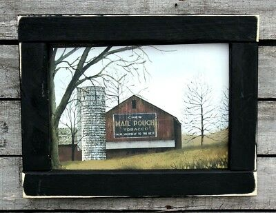 Primitive Country Rustic Amish Style House Barn Crows Framed Print Decor #4