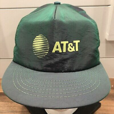 1b49c3dbab7 Vtg 80s 90s AT T neon reflective baseball hat cap snapback Made in USA