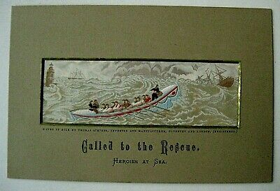 Victorian Stevengraph silk picture CALLED TO THE RESCUE Heroism At Sea T Stevens