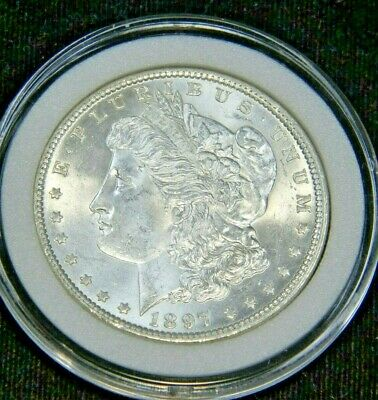 1897 Morgan Silver Dollar Choice BU Blast White Super Luster in Airtight cap SC1