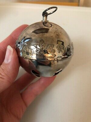 Wallace 1977 Annual Silver Plate Christmas Sleigh Bell Ball Ornament