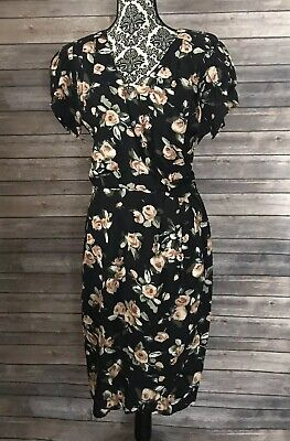 ddc27c66a0ab Vintage Michelle Stuart Dress 80s Floral 40s Inspired Pin up Rayon Roses
