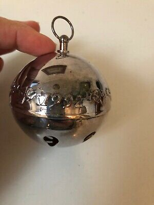 Wallace 1992 Annual Silver Plate Christmas Sleigh Bell Ball Ornament