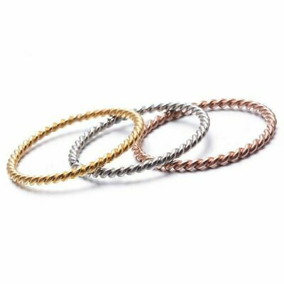 1.5mm Twisted Rope Ring 18K Rose Gold/Gold/Silver Wedding Band Women's Size 4-9