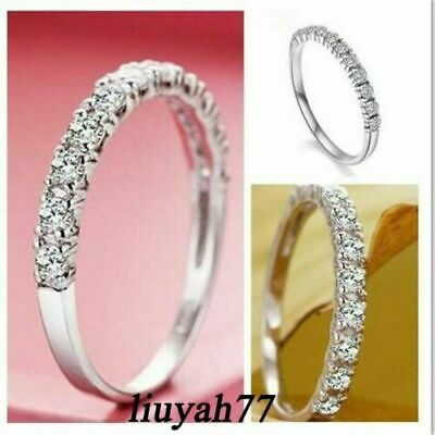Ultra-fine Tail Ring 925 Silver Women Wedding Party CZ Engagement Band Size 4-14