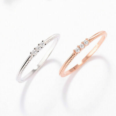 Ultra-fine Tail Ring 925 Silver CZ Womens Silver/Rose Gold Wedding Ring Size7-18