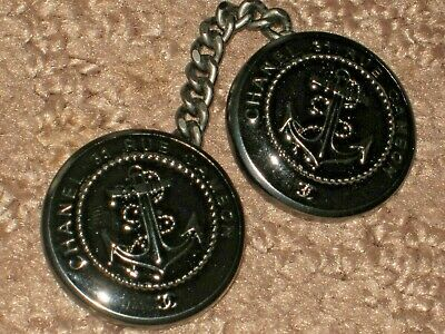 Chanel 2  Cc Logo Front Dark Silver Metal Ancher Black Buttons  22 Mm/1'' Chain