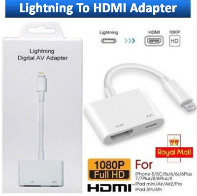 Lightning 8Pin iphone to HDMI TV Adapter Digital Cable For iPad iPhone AV UK iOS