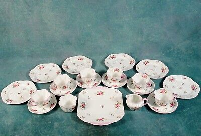 Shelley Rose and Red Daisy 13425 Dainty Tea Coffee Set Cups Bone China Vintage