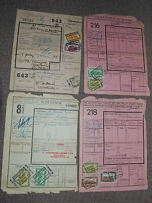 Belgium 1951 lot of 4 Railway Parcel post receipts with stamps