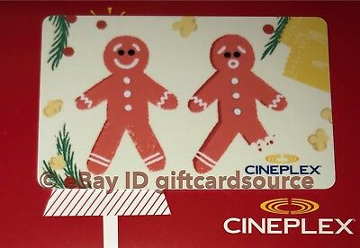 """Cineplex Theaters Gift Card """"gingerbread Man Cookies"""" Holiday 2018 No Value New"""