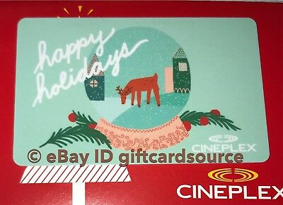"""Cineplex Theaters Gift Card """"deer In Snow Globe"""" Happy Holidays 2018 No Value"""