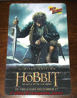 """Red Robin Burgers Gift Card """"The Hobbit"""" Movie No Value New 2015 Limited Edition"""
