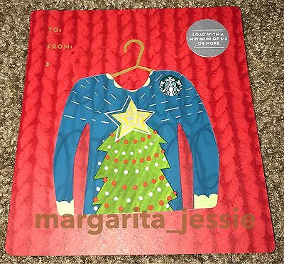 Starbucks Us Gift Card Ugly Sweater Series Christmas Tree Mini 2016 New No Value