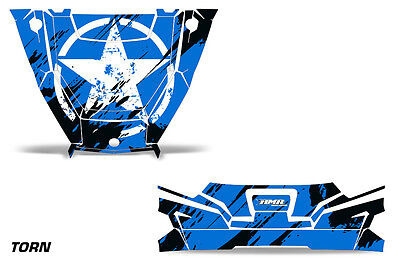 UTV Hood and Tailgate Graphics Kit Decal Wrap For Polaris General 1000 TORN BLUE