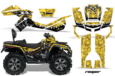ATV Graphics Kit Decal Wrap For CanAm Outlander Max 500/800 2006-2012 REAPER YLW