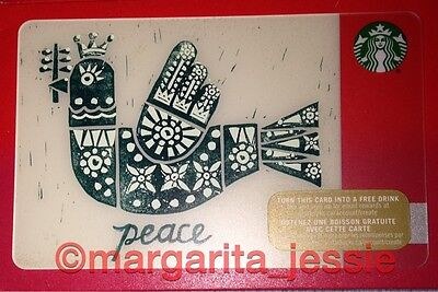 "Starbucks Canada Gift Card ""peace"" Bird 2015 New No Value 48 Collection 6113"