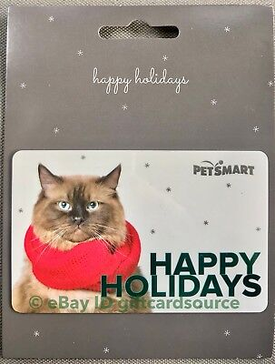 """Petsmart """"Cat Wearing Red Scarf"""" Gift Card Happy Holidays 2018 No Value New"""