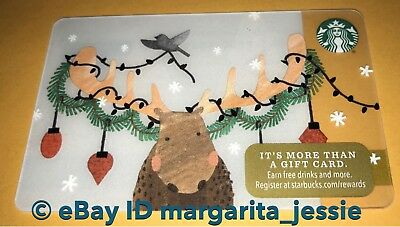 """Starbucks Us Gift Card """"holiday Moose"""" 2017 No Value New Collectible #6142"""