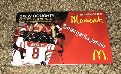 Mcdonald's Drew Doughty Arch Gift Card 2014 Olympic Gold Medallist Canada Rare