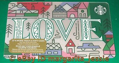 """Starbucks Canada Series Gift Card """"love"""" 2017 No Value New Holiday 48 #6142"""