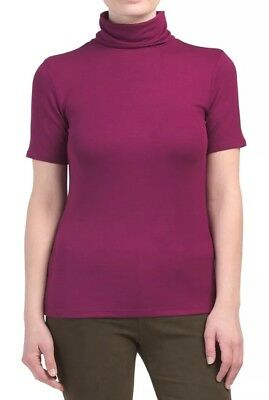 5a835d4f99f Women Seamless Stretch Short Sleeve Mock Neck Turtleneck Blouse Top Tee  Shirt.
