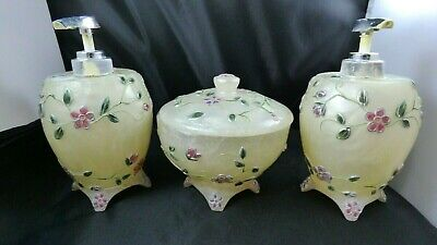 Vintage Cream Swirl Glass Vanity Set Powder Bowl Lotion Dispenser Enamel Flowers