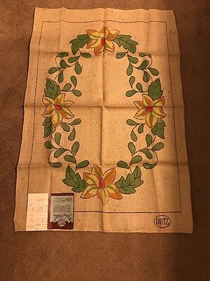 Hand Tinted Hand Hooking Dritz Floral Lotus Blossom Burlap Rug Pattern 27 X 40