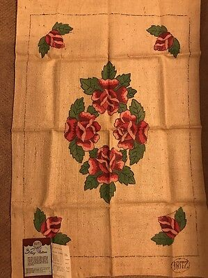 Hand Tinted Hand Hooking Dritz Floral Rosebud Burlap Rug Pattern 27 X 40 Rectang