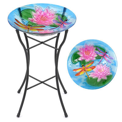 Glass Bird Bath Garden Outdoor Patio Decoration Dragonfly Lily Flower Christow
