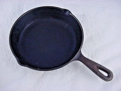 "Vintage 8"" Cast Iron Cooking Pan Camping Hiking Picnic 12-1/4"" Length 3Lb"