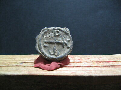 BYZANTINE EARLY MEDIEVAL LEAD SEAL BULA 7-9 ct. A.D. 22 mm
