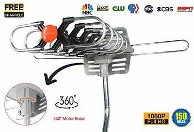 150miles TV Antenna Amplified Long Range Outdoor HD Digital 360°Rotating