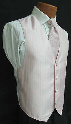 Mens Light Pink Jean Yves Tuxedo Vest & Choice of Tie Formal Wedding Cruise Prom