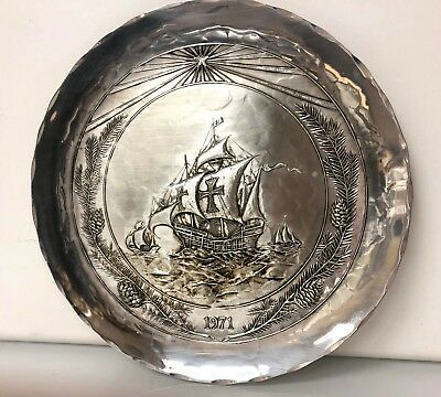 Beautiful Sterling Silver Columbus Day Plate Dated 1971 Handmade