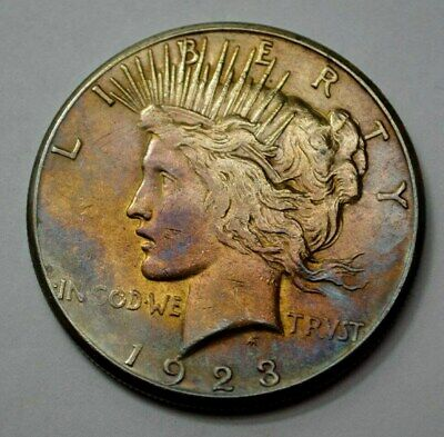 1923-S  Peace Dollar Silver $1.00 US Coin, Toned, NO RESERVE !!!