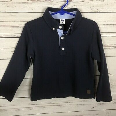 Janie & Jack Blue Long Sleeve Polo Shirt Boys Toddler Size 3