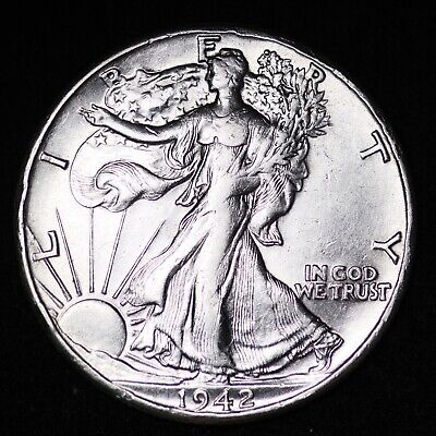 Au 1942 Walking Liberty Silver Half Dollar Free Shipping
