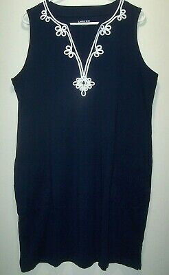 52cfe6261a LANDS END Swim Cover-Up Shift Dress Women's L 14-16 Navy Knit Embroidered