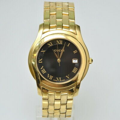 98425d39bdf Gucci 5400 M Mens   UniSex Gold Tone Stainless Steel Watch 35mm New Battery