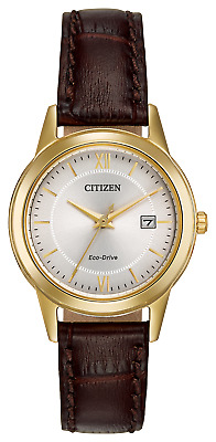 *BRAND NEW* Citizen Women's Eco-Drive Brown Leather Steel Watch FE1082-05A