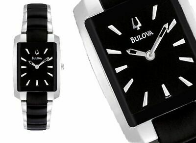 Women's Bulova 98L148 Black Two Tone Stainless Steel Black Dial Watch NEW IN BOX