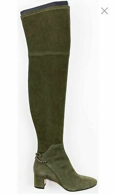 88a5cf69911 Tory Burch Laila 45 Green Suede Bow Gold Reva Zip Over The Knee Boots 8  600