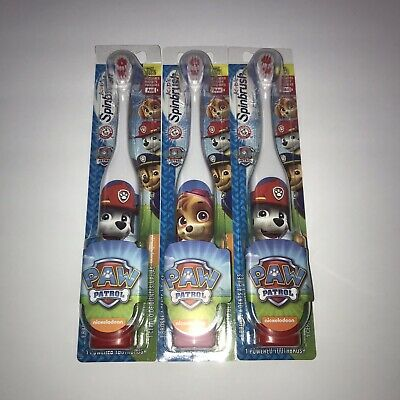 NEW Paw Patrol Spinbrush Toothbrushes Lot of 3 Marshall Skye Arm & Hammer Power