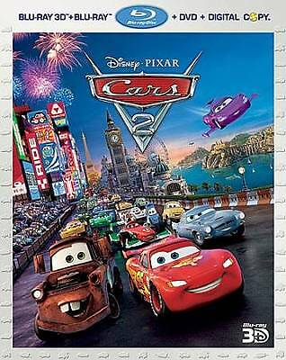 Cars 2 (Blu-ray/DVD, 2011, 5-Disc Set, 3-D)  Disney  w/Lenticular Slipcover