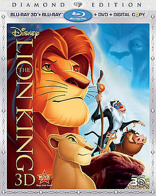 The Lion King (Blu-ray/DVD, 2011, 4-Disc Set, 3-D) Disney w/Lenticular Slipcover
