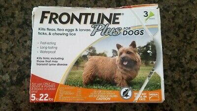 FRONTLINE Plus Flea and Tick Control for 5-22lbs Dogs - 3 Doses CRUSHED BOX!!!